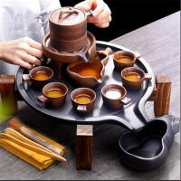 半全自动茶具套装家用泡茶壶器功夫茶杯石磨陶瓷茶壶礼品 简嘴茶盘+