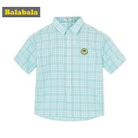 【每满200减100】巴拉巴拉童装男童中大童短袖衬衫春夏2018新款儿童格子衫纯棉衬衣