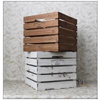 乡村复古正方形收纳木箱 家居橱柜装饰陈列展示整理储物箱
