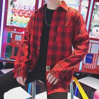 男士衬衣春韩版潮格子衬衫学生长袖休闲寸衫情侣外套