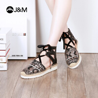 jm快乐玛丽2018夏季新款舒适平底绑带个性麻底松糕女凉鞋子52037W