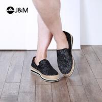 jm快乐玛丽夏季新款平底套脚黑色舒适休闲帆布鞋男鞋子