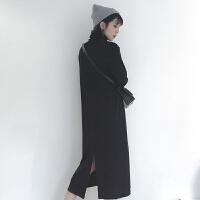 韩版春装女装简约基础款高领中长裙t恤打底裙后开叉个性连衣裙女