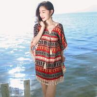 夏季新品女装流苏系带雪纺短裙子波西米亚连衣裙海边度假沙滩 图片色X570