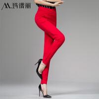 大红色打底裤结婚穿女士秋款铅笔裤外穿长裤大码弹力高腰女裤子 大红色