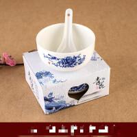 青花瓷碗勺套装 中国风碗筷礼品米饭碗礼品陶瓷家用餐具小礼品