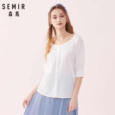 森马衬衫女2019春季新款白色衬衫学院风很仙的上衣洋气中袖日系
