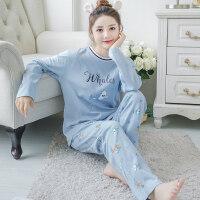 韩版春秋季纯棉长袖睡衣女士秋款清新冬季甜美可爱套装全棉家居服