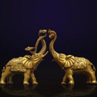 黄铜大象摆件风水办公室办公桌客厅乔迁新居工艺装饰品礼品