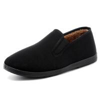 加绒加厚老北京男鞋棉鞋低帮鞋冬季保暖布鞋复古休闲鞋一脚蹬板鞋