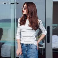 拉夏贝尔上衣秋装新款韩版套头修身显瘦七分袖条纹薄针织衫女10013007