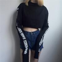 韩版露脐爵士舞蹈服装T恤现代街舞超长袖短款嘻哈女装ins超火上衣