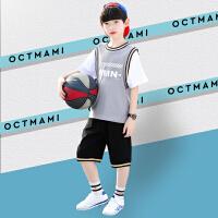 木木屋男童套装2021新款帅气夏季运动男孩短袖速中大童篮球服两件套