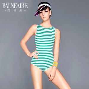 【顺丰急送达】范德安欧美性感大露背泳衣女保守遮肚显瘦小胸聚拢学生连体游泳衣