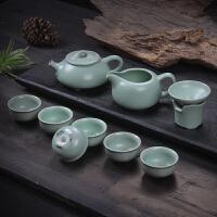 石飘汝窑茶具套装蝉翼开片整套陶瓷茶具茶壶茶杯