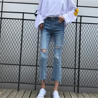 破洞牛仔裤女2018春秋新款韩版宽松显瘦不规则弹力微喇叭裤九分裤 蓝色
