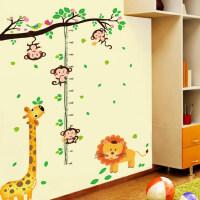 卡通儿童房墙上贴画小孩宝宝婴儿测量身高贴纸墙贴可移除身高尺