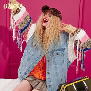 【低至1折起】妖精的口袋Y秋装2018新款工装上衣chic短款ins牛仔外套女生超火