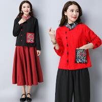 中国风短外套复古民族风刺绣女装短款提花立领盘扣绣花上衣外套女