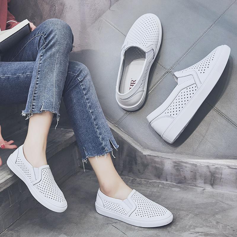 ZHR2018春季新款韩版乐福鞋平底网洞鞋厚底单鞋休闲鞋学生女鞋潮M211