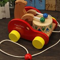 儿童木质拖拉学步车2-3-6岁宝宝拉线小拖车玩具小熊敲鼓车