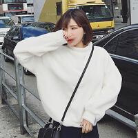 韩版加绒加厚卫衣女套头宽松春装2017毛衣刺绣大码绒衫上衣女学生 均码
