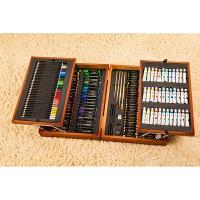 送儿童 8岁10岁生日礼物174套件绘画工具箱美术用品画笔水彩笔蜡笔套装礼盒儿童生日礼物 咖啡色