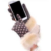 韩版羊毛手套女秋冬可爱爱心触屏手套触摸屏保暖全指