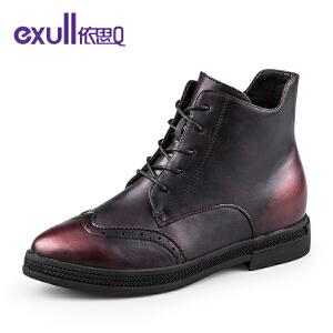 依思q新款复古粗跟低中跟短靴系带时尚潮流女靴