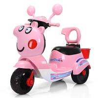 儿童电动摩托车三轮车男女宝宝可坐人小孩子玩具车带遥控大号童车 早教音乐+跑7小时+超大电瓶 粉色 带储物筐+安全