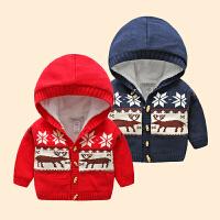 女宝宝加绒毛衣男0一1岁婴儿加厚外套男童保暖上衣新生儿衣服冬季