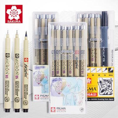 日本樱花sakura针管笔勾线笔套装进口樱花牌防水彩色手绘漫画设计线描画软头绘图笔一套正品漫画专用笔学生用 水彩/漫画 /马克笔设计 用笔