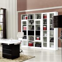 百意空间 时尚简约玻璃门书柜 书架组合 板式简约书架书橱 储物柜 收纳柜 展示柜