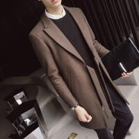 18秋冬款男式潮流个性无扣西装领中长款毛呢外套韩版修身青年风衣