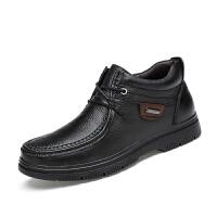 DAZED CONFUSED皮鞋男秋冬鞋子中帮男鞋男士商务休闲鞋中年头层牛皮加棉工装高帮皮
