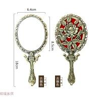 手持化妆镜创意金属手柄镜子欧式便携式公主镜复古玫瑰镜子