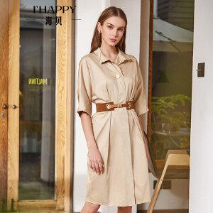 海贝2018春季新款女装 OL气质纯色翻领收腰系带单排扣短袖连衣裙
