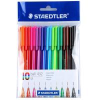 10色施德楼圆珠笔彩色油笔黑色学生用画画多色笔绘画黑色原子笔