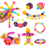 橙爱cheerbb 儿童女孩积木玩具 波普奇趣串珠手工DIY首饰过家家玩具 无绳珠早教益智玩具