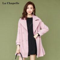 粉色呢子大衣女装秋冬季新款韩版潮流中长款休闲毛呢外套女士