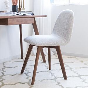 奇居良品 北欧简约家具 特丽灰色胡桃木色餐厅餐椅/书椅