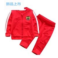 新款儿童纯棉毛圈外穿套装春季男童棒球服外套长裤运动两件套