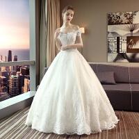 婚纱礼服2018新款韩式新娘结婚一字肩齐地复古修身显瘦大码蓬蓬裙 白色