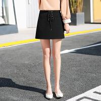 半身裙女春夏季2018新款韩版系带高腰短裙显瘦百搭黑色包臀a字裙 黑色