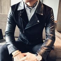 新款18秋季男士皮衣时尚休闲麂皮绒翻领外套潮男韩版黑色短款上衣