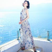 夏季新品女装V领无袖雪纺连衣裙波西米亚长裙海边度假沙滩裙 图片色XZA556
