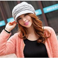 中年帽新款秋冬天季厚带沿保暖时尚 冬季女士帽子女 毛线帽