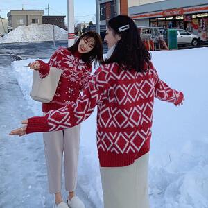 安妮纯冬装2019新款很仙的上衣百搭半高领洋气红色套头打底圣诞毛衣女冬