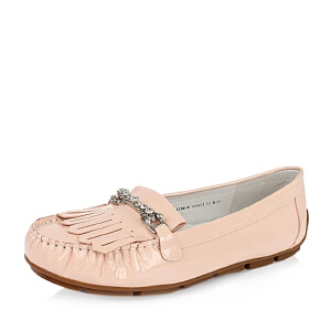Belle/百丽秋新品专柜同款漆皮牛皮舒适豆豆鞋女单鞋BDM04CQ6