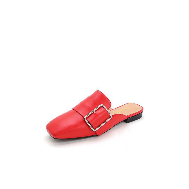 Belle/百丽2017春时尚穆勒鞋牛皮女凉鞋BTQ32AH7